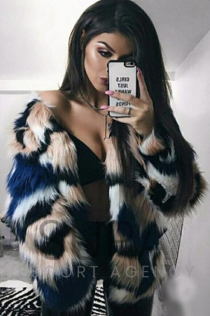 Cara in fur coat