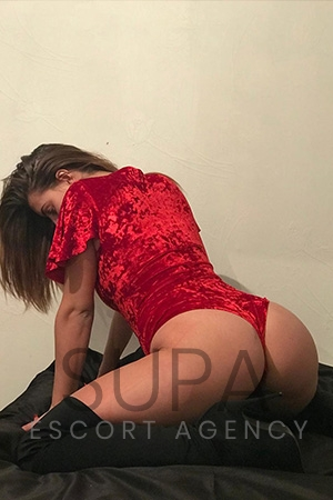 Jess in red velvet one-piece